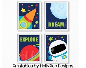 PRINTABLE space nursery art Baby boy wall art Boy nursery decor Nursery printables Astronaut wall prints Printable boy art Space decor #1536