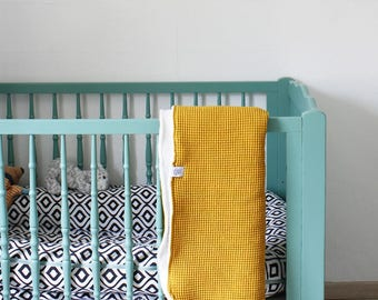 Baby crib blanket of ocher yellow waffle fabric, baby blanket, crib blanket, soft baby blanket flannel  fabric ocher yellow