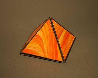 Orange Glass Pyramid Box