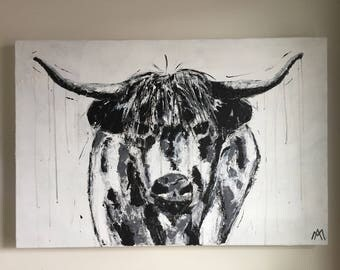 "BOF beef, acrylic on canvas Gallery, spatula, 24 ""x 36"""