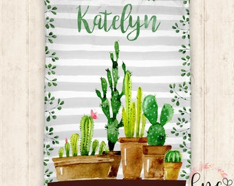 Personalized Baby Blanket - Personalized Blanket - Cactus Floral Blanket - Succulent Baby Blanket - Floral Cactus Succulent Throw Blanket