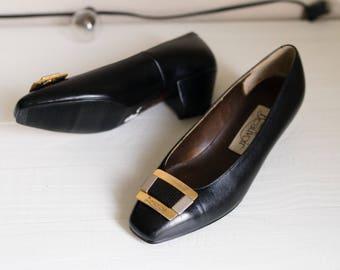 Vintage Low Heel Leather Pumps 5 4.5