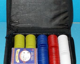 Vintage Zipper Bag Poker Chip Case With 2 Decks Of Cards