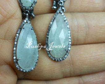 Estate Style Antique finish natural 3.50cts pave Diamond grey sapphire Sterling Silver tear drop Earrings