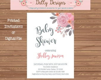 Floral Baby Shower Invitation, Floral Baby Shower Invite, Baby Shower Invitation, Pink Baby Shower Invite, Baby Shower Invite