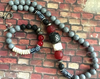 Afrocentric Side-Accent Necklace and Bracelet- Red/Black/Cream