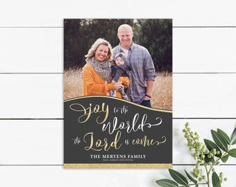 Christmas picture card, religious card, holiday card, verse, Joy to the World the Lord is Come, charcoal, gold glitter, photo card, winter