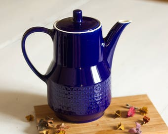 Coffee Royal Blue Bunzlau, years 1960/70, geometric patterned ceramic Polish