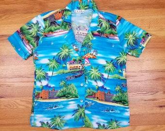 Vintage 90's Hawaiian Palm Tree Caribbean summer Cool Ocean Beach Kayak Tropical Shirt Medieum M