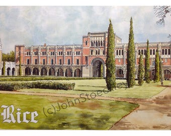 Rice University LIMITED EDITION Pen and Ink and Watercolor Art Print Illustration - Graduation Gift, Alumni