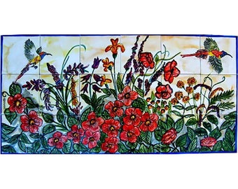 FLORAL KITCHEN BACKSPLASH 18pcs Mosaic Ceramic Wall Mural 36in X 18in, Antique Looking Ceramic Tile Wall Murals