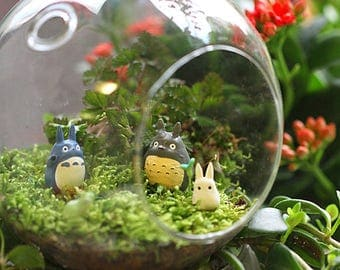 3pcs Fairy Garden Set Of 3 Small Totoros Ghilbi Studio Figurine Mini Garden  Accessories Plant /