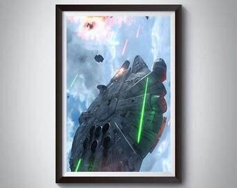 Millennium Falcon Inspired Art Poster Print, Star Wars Poster