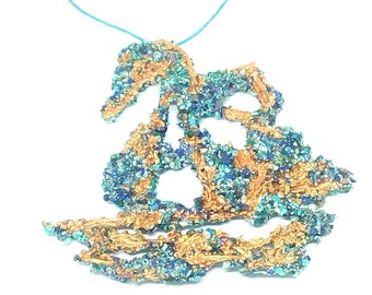 Swan pendant, crushed Turquoise and Lapis