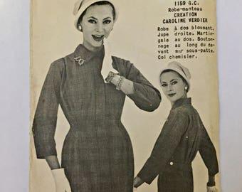 Women's Dress-Coat 1950s French Pattern, Elle No. 1159, multi-size\ Patron Robe-Manteau des annees 50 en francais, grandeur multiple