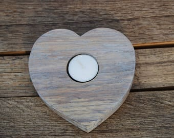 Decorative limed oak heart shaped candle holder