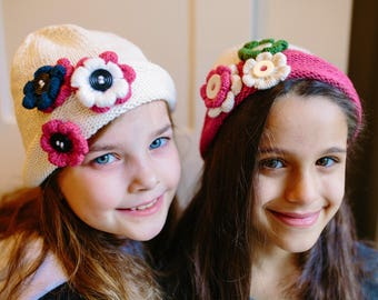 Hand Knit Buttons and Blooms Beanie, Girls Rolled Rim Beanie