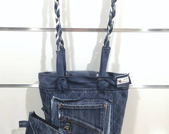 Recycled jeans quilted bag