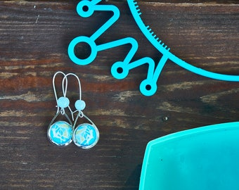 Rock Climbing earrings - Mountain earrings - Gift for climber - Teardrop Long earrings - Adventure - Aqua Blue earrings