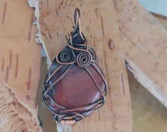 Wire wrap pendant with red Tiger eye