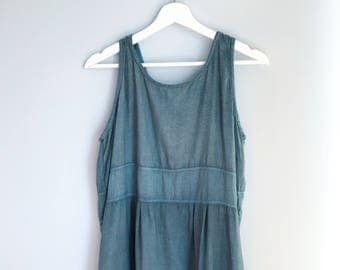vintage 100% Linen dress custom hand-dyed color (teal / wave) eco-friendly & sustainable