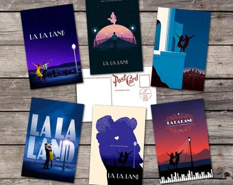 La la land set 6 postcards | emma stone  | ryan gosling | movie art poster | film art print | vintage cinema poster | postcard set