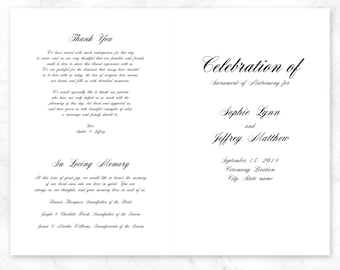 Wedding Program Template | Wedding Ceremony Program template | Printable Ceremony Program | Calligraphy Design | PDF Instant Download | DIY
