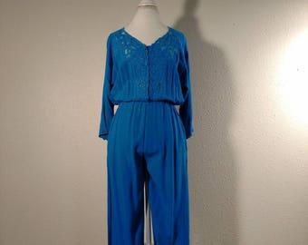 1970s cotton jumpsuit, 80s, retro, vintage jumpsuit, floral, 80s career, hipster, 70s fashion, disco, blue jumpsuit, pantsuit, size 8