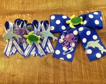 mom boy bow-tie baby shower pin and twelve guest pins- sea life decorated