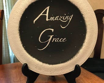 Inspirational Hand Painted Glass Plate, Amazing Grace Plate, Inspirational Plate, Black Hand-Painted Plate, Amazing Grace Painted Plate