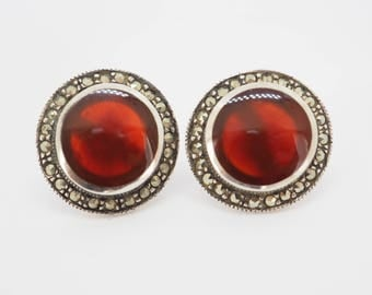 Earrings with carnelian and Markasiten occupied silver