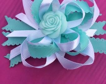 Mint Flower Hair Bow Mini Bow Wedding