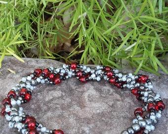 Red & Silver Spiral Beaded Bracelet