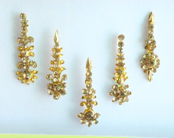 15 Gold Bridal Wedding Long Face jewels Bindis,Bridal Bindis Stickers,Stone Bindis,Gold Bindis,Gold Bindis,Self Nail Art Sticker