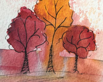 Original artwork, Autumn tree art, watercolour trees, Autumn colours, home decor, small art gift, unique gift, gift for him, gift for her