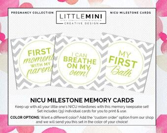 NICU Milestone Cards   35-Card Set - Lime   Instant Download!