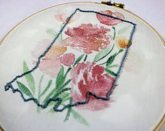State Embroidery Print (pink flowers)
