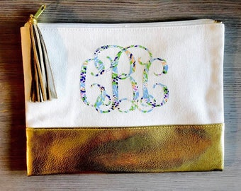 Gold Canvas Bag, Cosmetic Bag, Monogrammed Cosmetic Bag, Lilly Monogram, Monogram Bag, Zipper Bag, Zipper, Bag, Pouch, Personalized gift