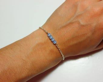 Dainty Baby-Blue Beaded Chain Bracelet