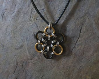 Black and gold chain maille necklace