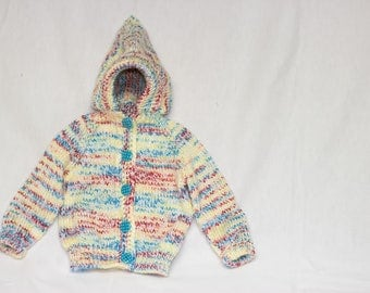 Multicolored Knitted Button-Up Baby Sweater