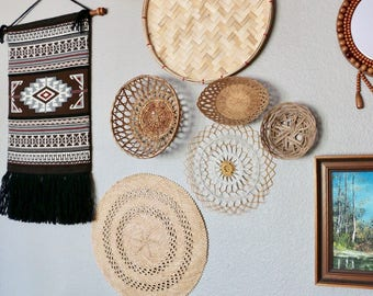 Set of 7 Wall Baskets, Wall Decor, Vintage Wall Hanging