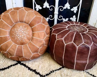 Set of 2 Moroccan Pouf natural Leather pouf Floor pouf Leather Ottoman Moroccan Ottoman Natural leather pouf