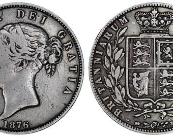 1876 Victoria half crown silver coin of Great Britain