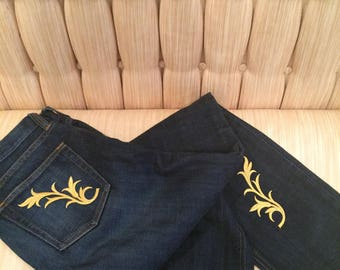 Gold scroll jeans