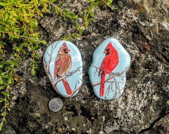 Hand Painted Pair of Cardinal Pocket-Sized River Rocks (Special Listing for Denice Car)