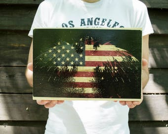 Print on Wood: Flag of the United States