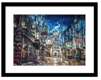 Diagon alley, poster, starry night, art, castle,  gift honeydukes, howgmeade not affiliated with Harry Potter or Hogwarts trademarks