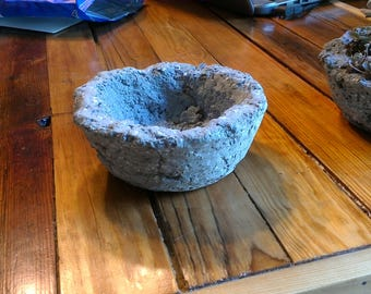 Small Hypertufa Planter- Handmade Gray Concrete