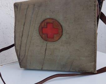 Vintage, Medical military bag, Doctor Bag, Military doctor bag